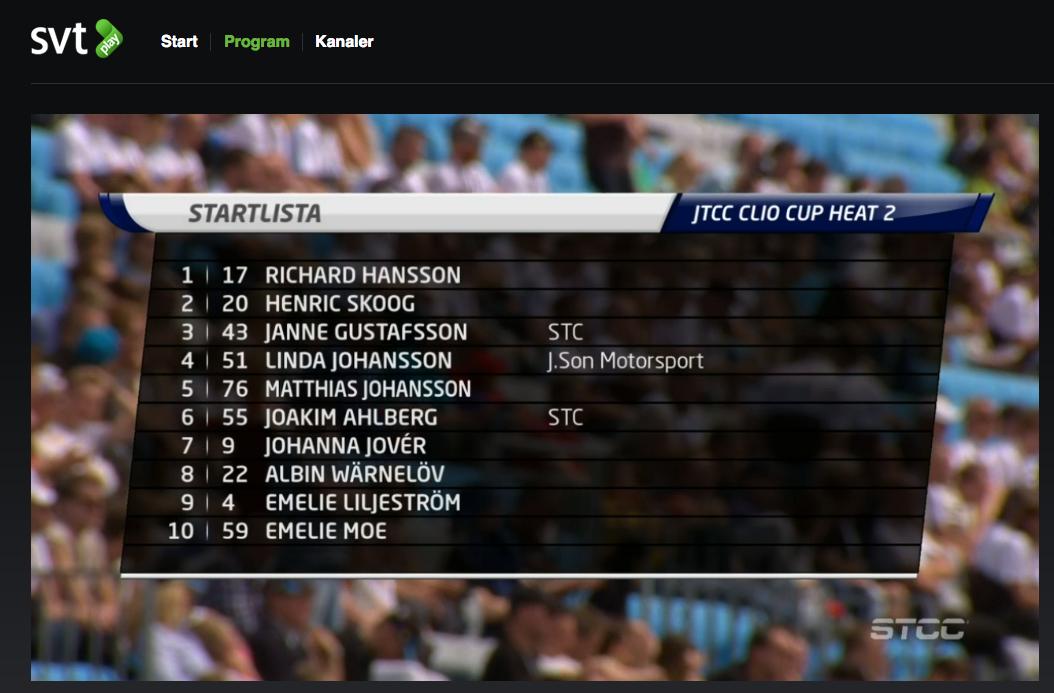 SVT play visa Clio Cup Heat 2
