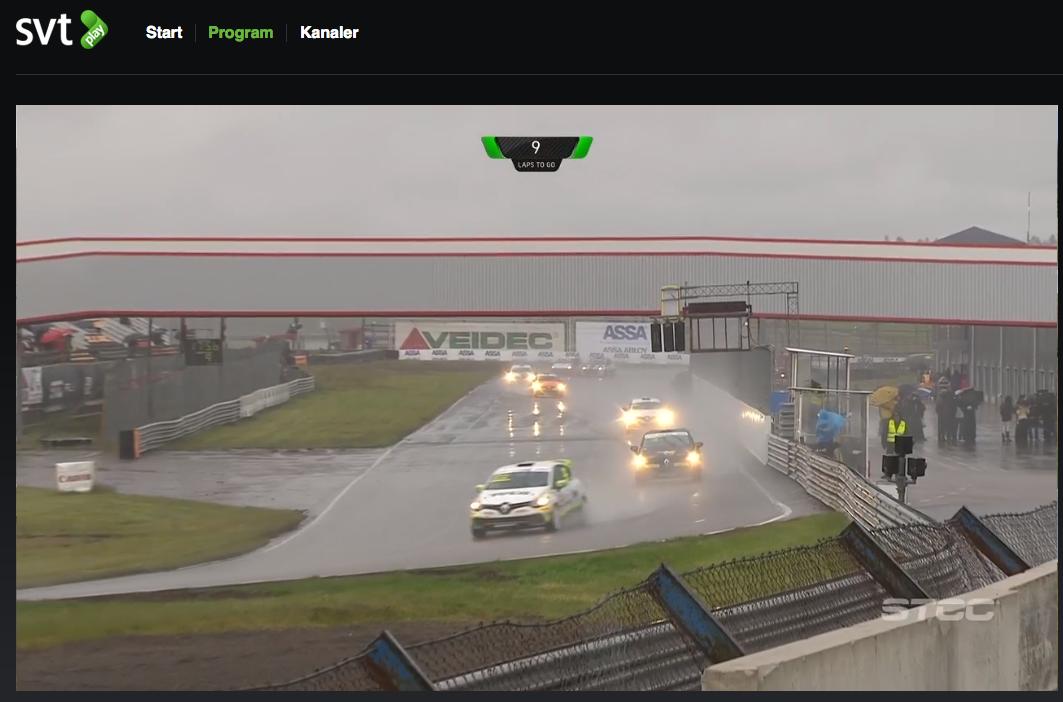 Ett regnigt race i Anderstorp Race way i Clio Cup racing