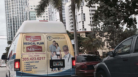 Medplan Health Insurance Back Wrap Ad photographed in Brickell