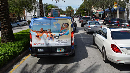Resorts World Bimini SuperShuttle Back Wrap photographed in Coral Gables
