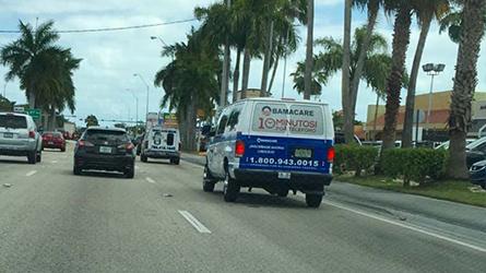 Medplan Health Exchange Obamacare Ad on a Transportation Shuttle