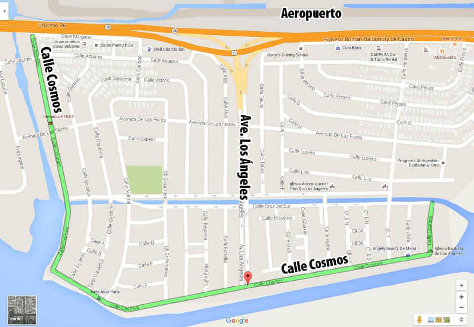 Mapa de Urb. La Marina y Urb. Los Ángeles, Carolina, Puerto Rico.