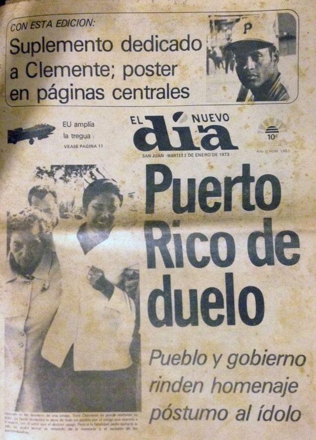 Muerte de Roberto Clemente Walker anunciada en portada de El Nuevo Día 1972.