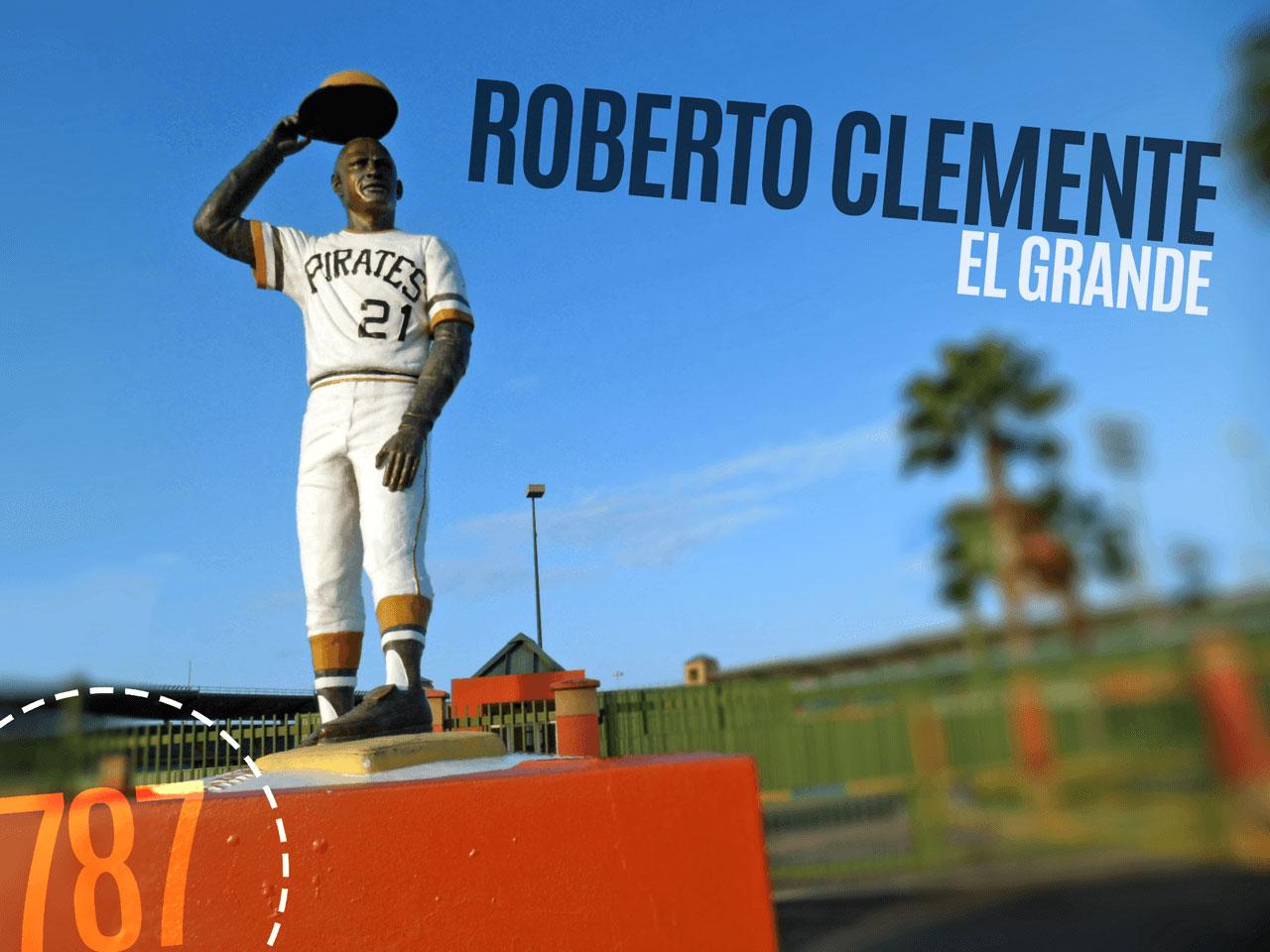 Estatua frente al Estadio Roberto Clemente Walker en Carolina, Puerto Rico.
