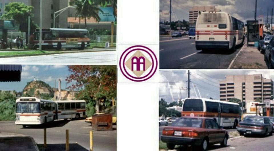 Foto vieja de guagua de la AMA (Autoridad Metropolitana de Autobuses), Puerto Rico.