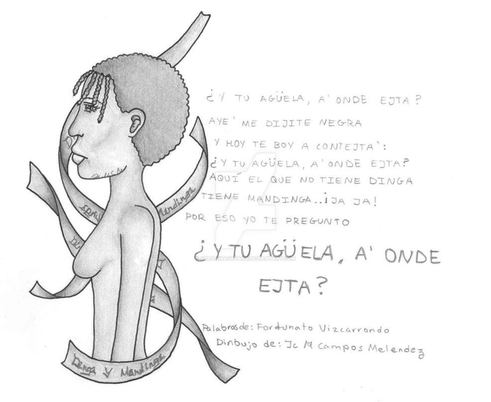 """Poesía negroide """"¿Y tu aguela, a'onde ejtá?"""" de Fortunato Vizcarrondo, de Carolina, Puerto Rico."""