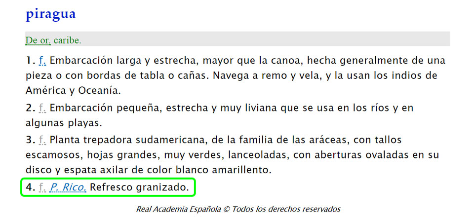 Definición de piragua en Puerto Rico.