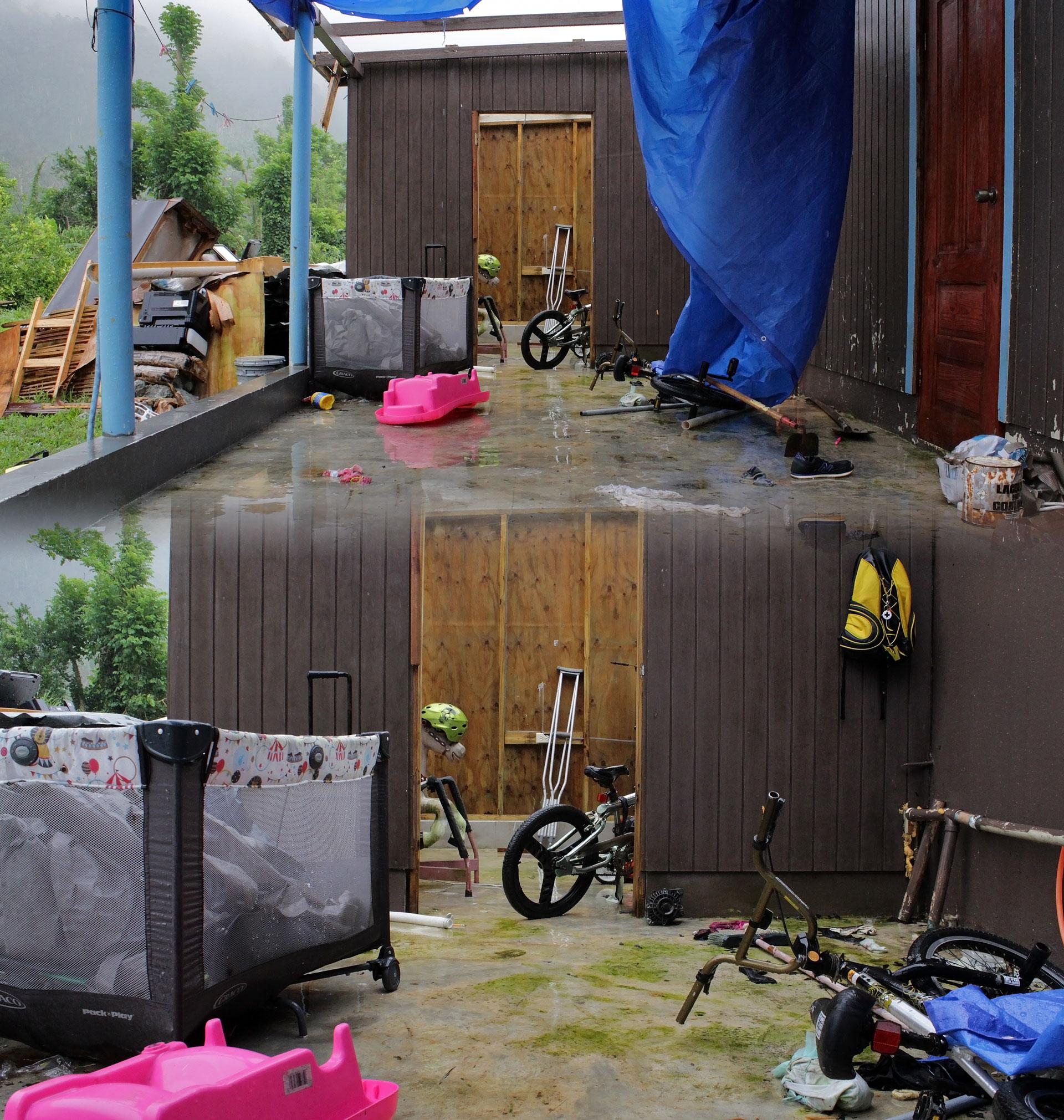 Casa destruida por el Huracán María tras su paso por Orocovis, PR.