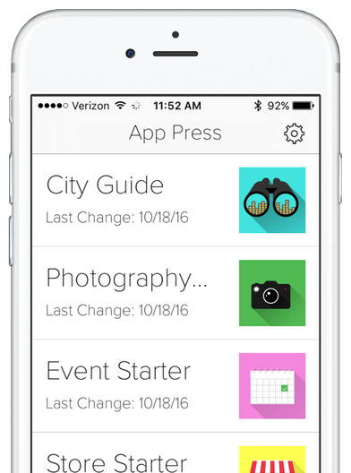 Create your own app and preview instantly using App Press Now.