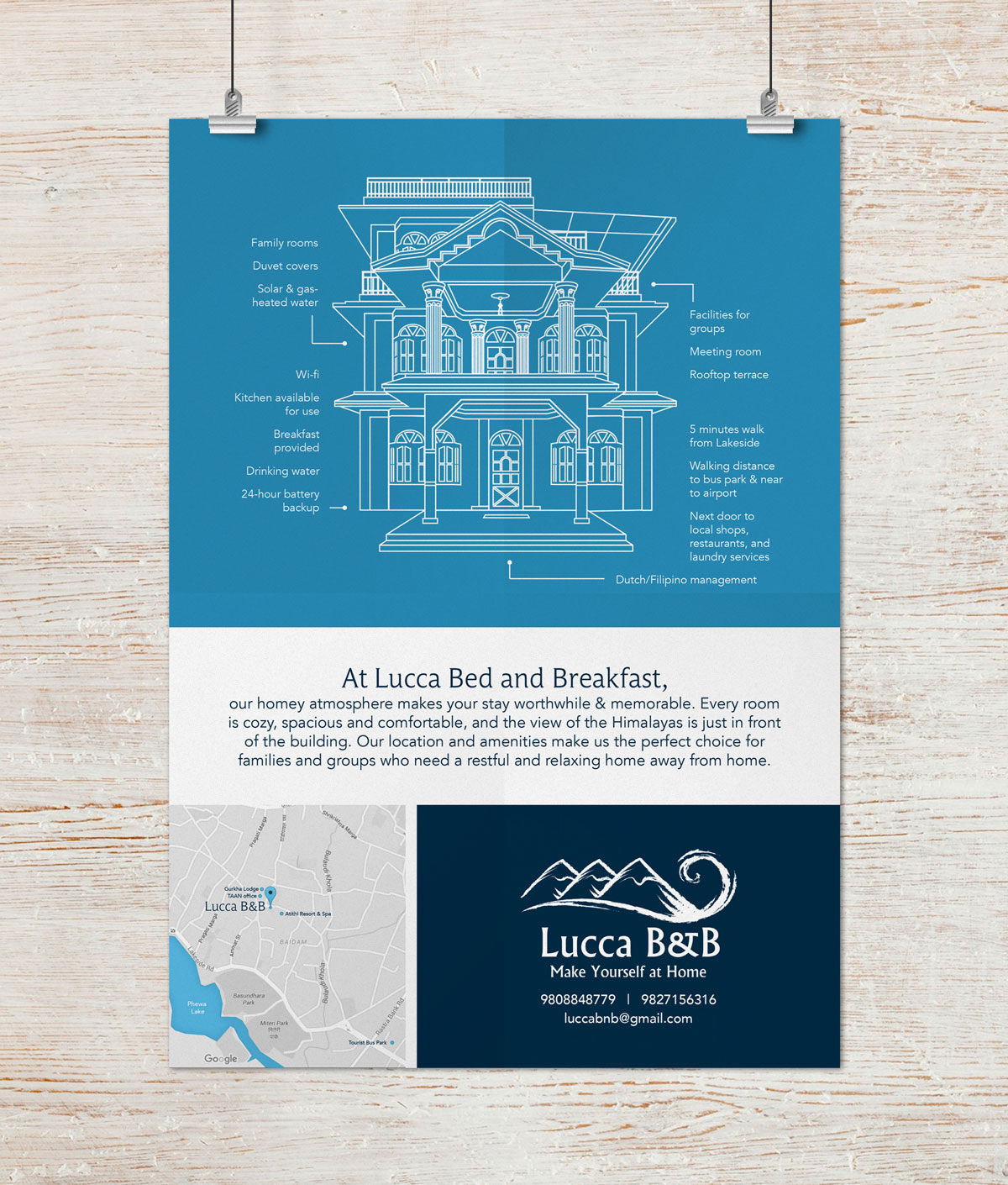 Lucca Bed and Breakfast Poster Flyer