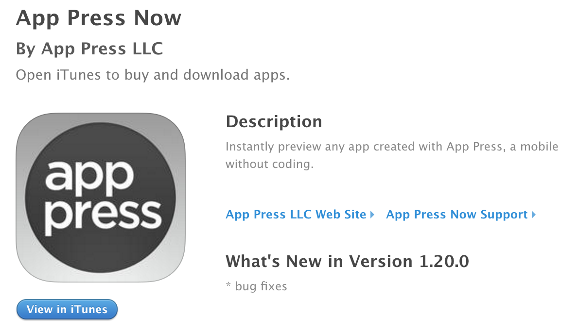 Publishing apps privately using a unique URL viewed in App Press Now.