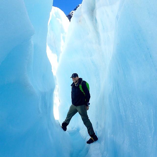 Hiker on Fox Glacier in New Zealand
