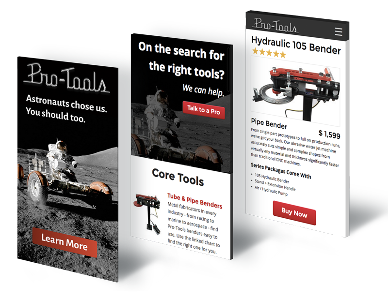 Digital Advertisement for Pro-Tools Bender with Astronauts