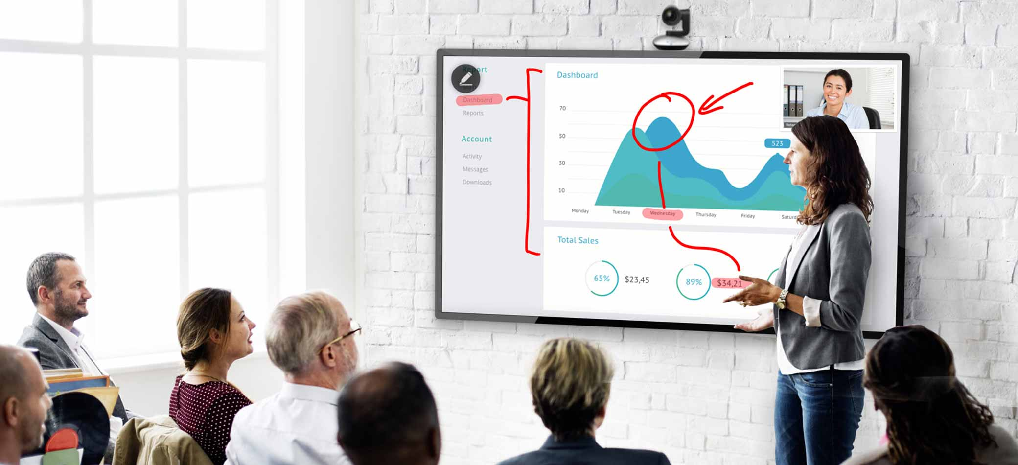 woman presenting to peers using wall mounted touch screen