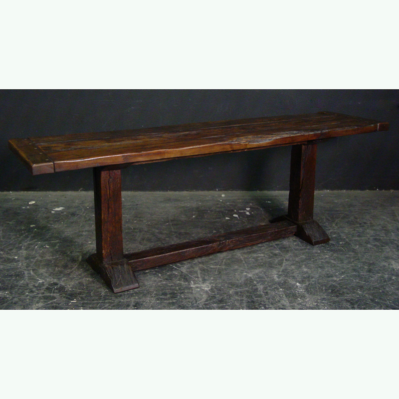 Rustic Elm Finish Narrow Trestle Base Refectory Dining Table