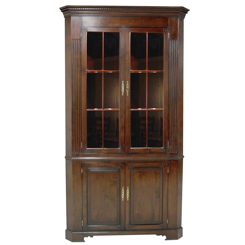 Mid Cherry Large Glazed Top Corner Cabinet