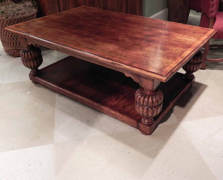 Antique Oak Finish Yew Wood Banded Bulbous Leg Potboard Base Coffee Table