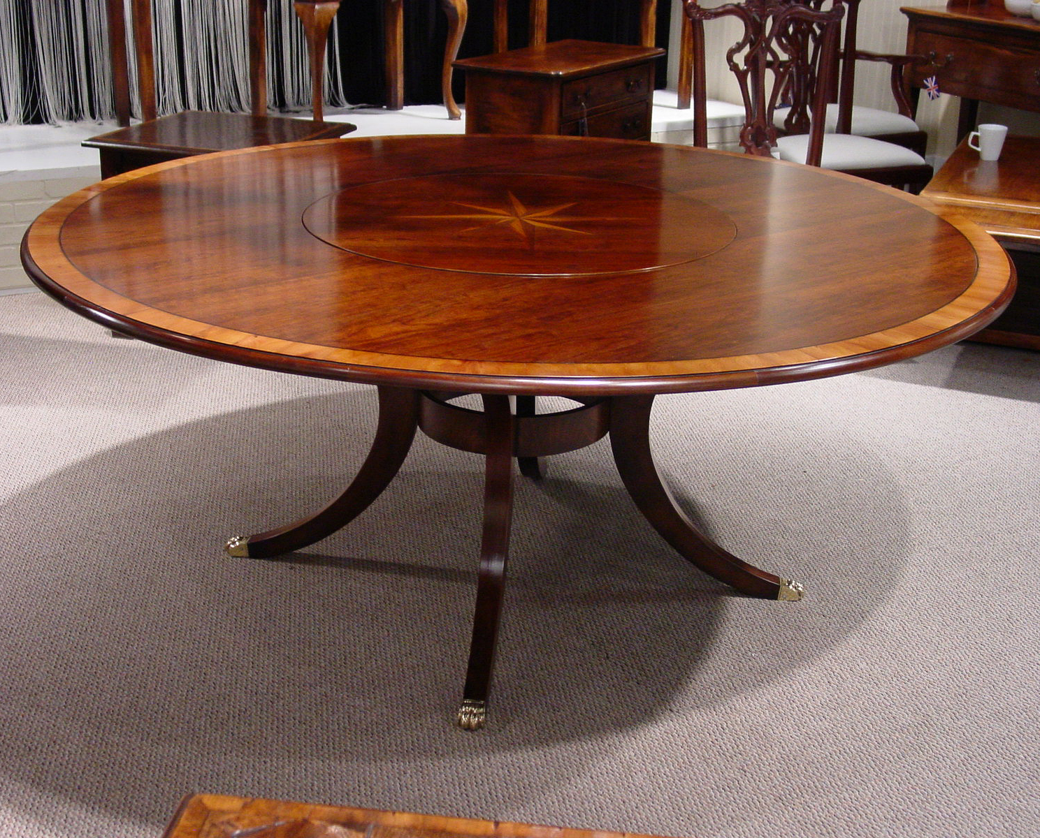 mid cherry yew wood banded 72u201d round table with starburst inlay flush lazy susan