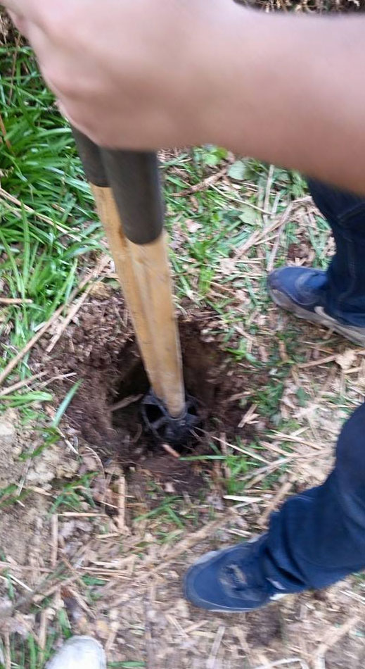 A picture of a hole being dug for a satellite broadband dish