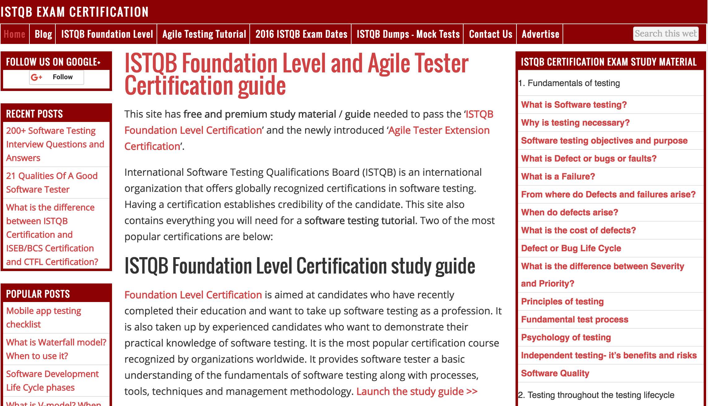 ISTQB Foundation Level and Agile Tester Certification Guide