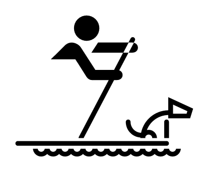 Graphic icon of a person with a dog on a raft