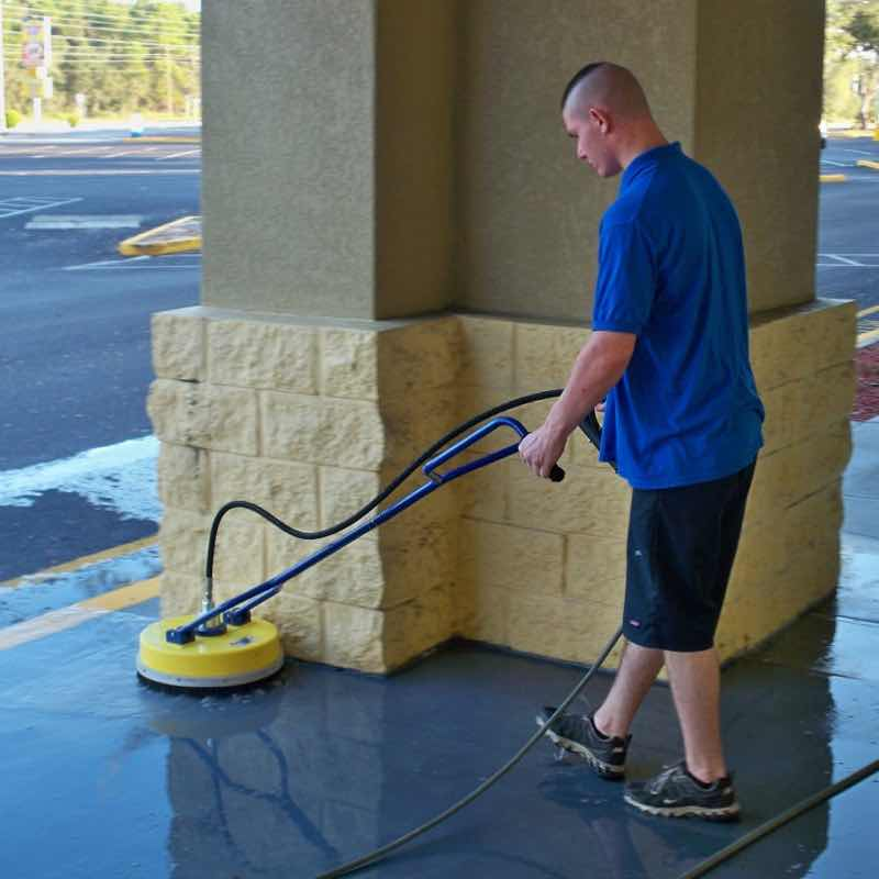 Pressure Washing a Land O' Lakes home's walkway.
