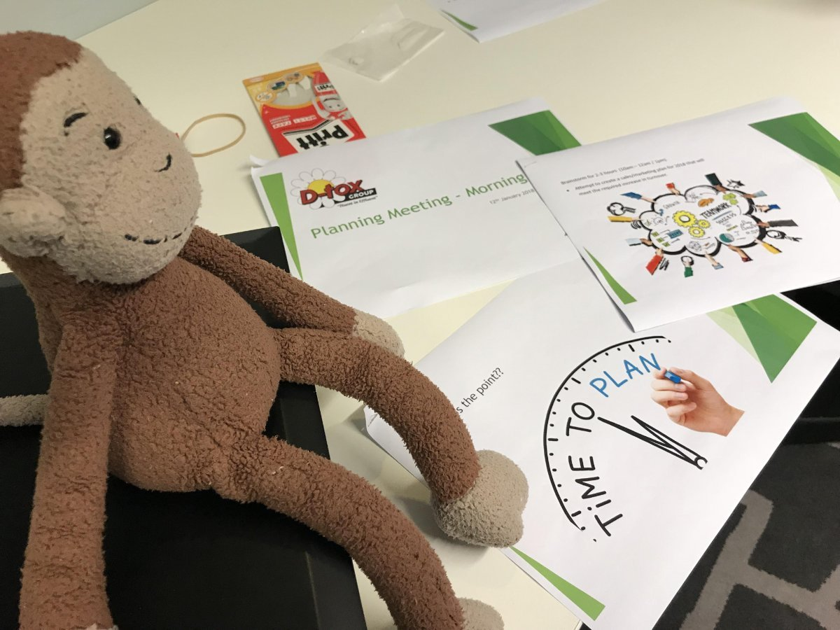 George the strategy monkey helping D-tox plan a strategy for its waste management services