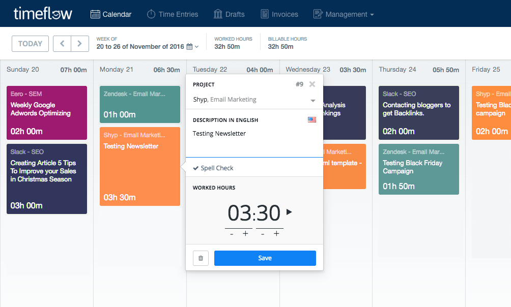 Timeflow time tracker calendar feature
