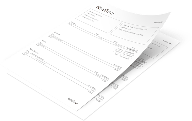 Invoice generated with timeflow time tracker