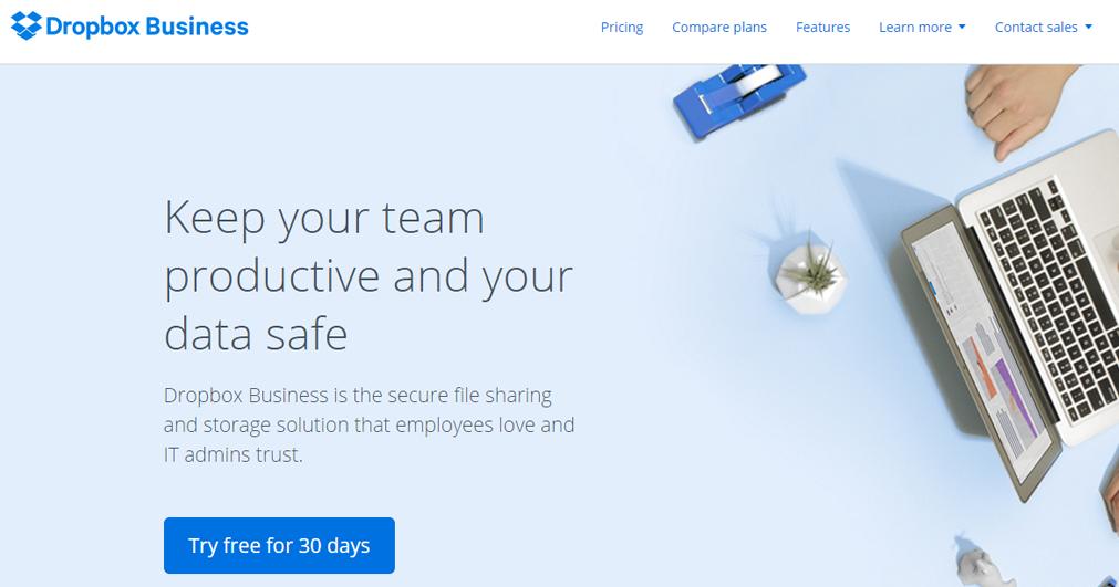 dropbox website print screen