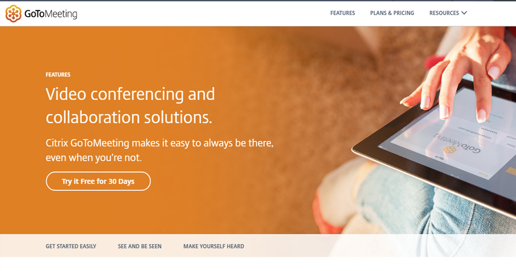 gotomeeting website print screen