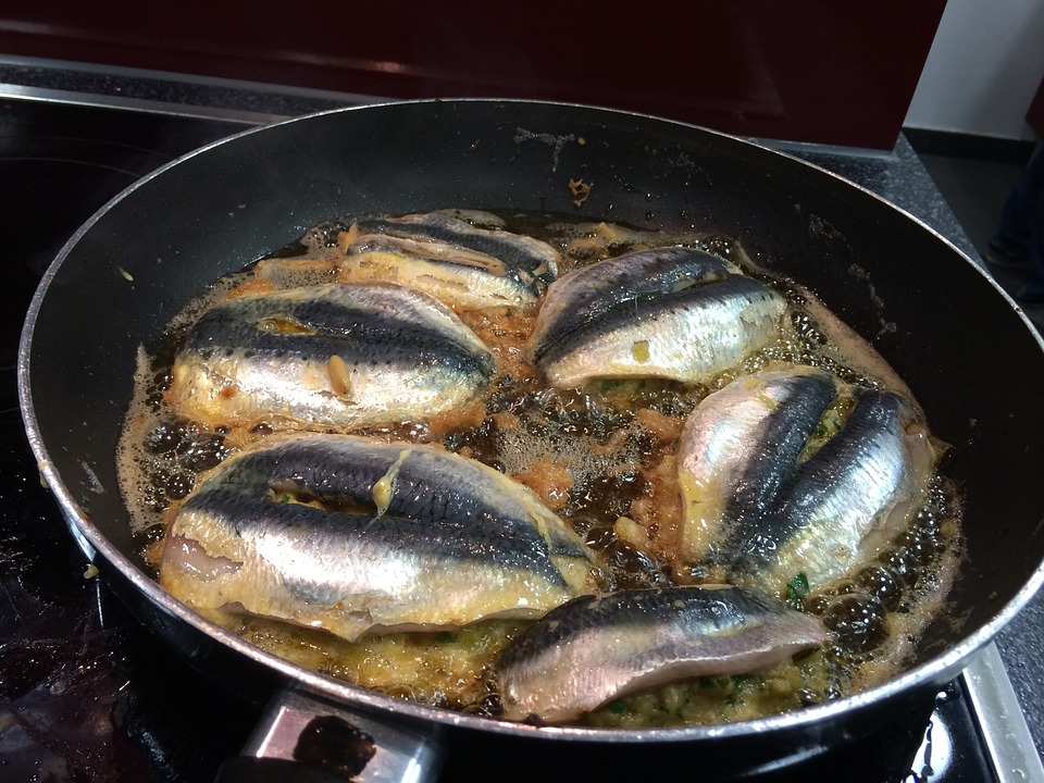 Fish being seared
