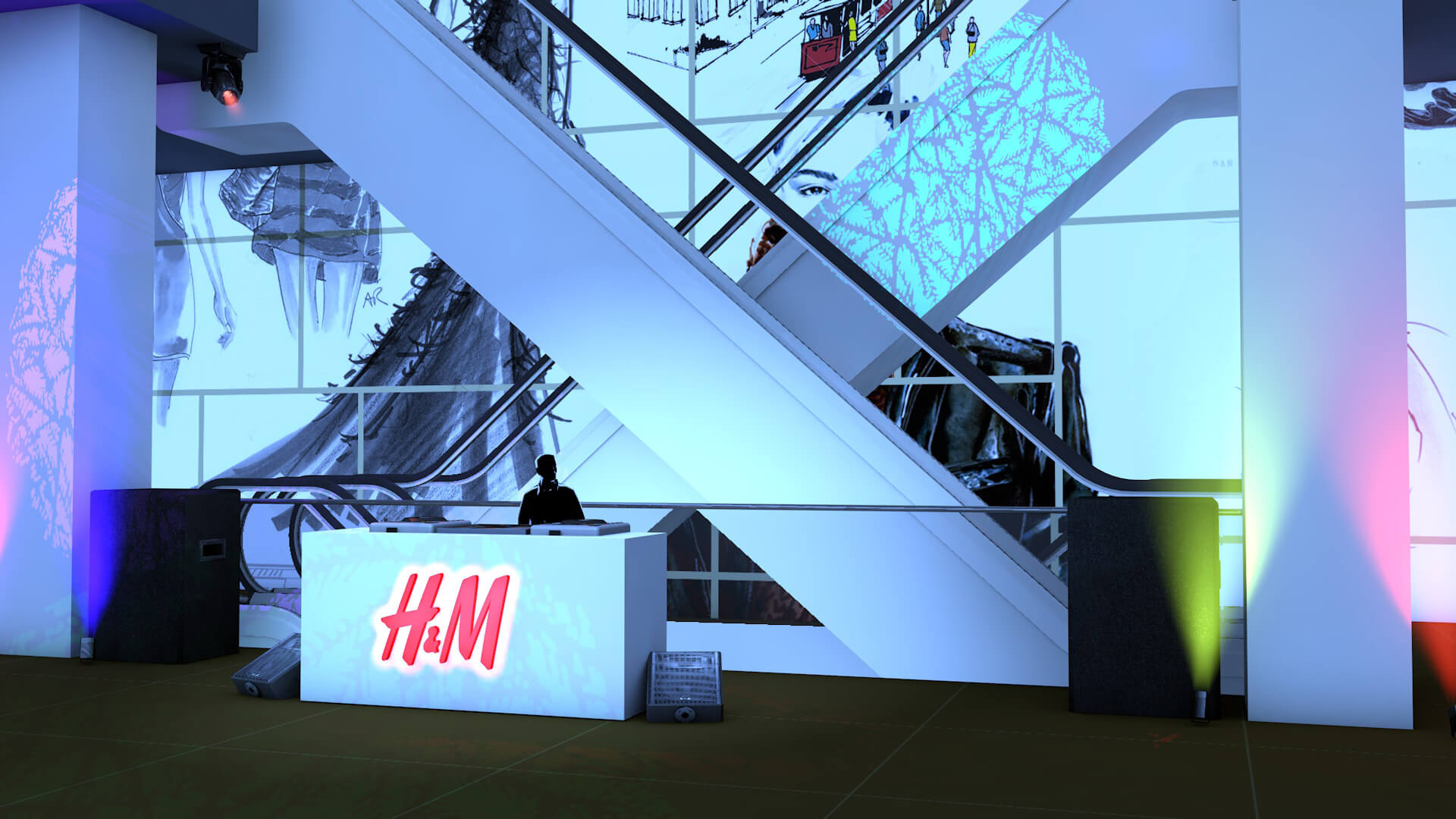 H&M Fashion Convention with DJ motion graphics and lighting