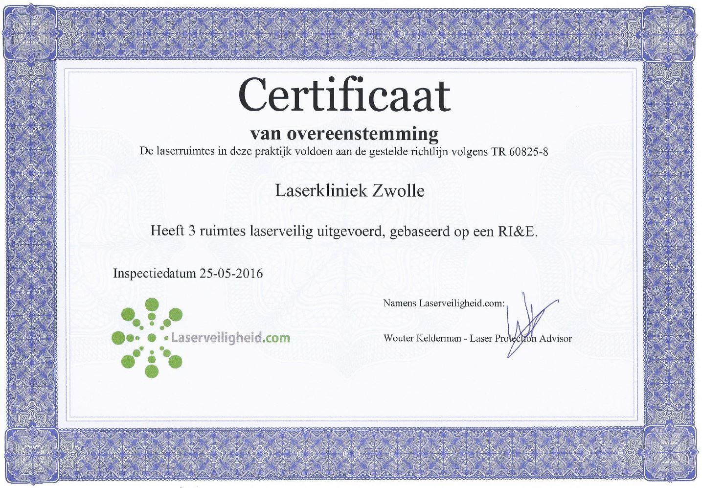 Laserveiligheid Certificaat - Laserkliniek Zwoll-Huidtherapie