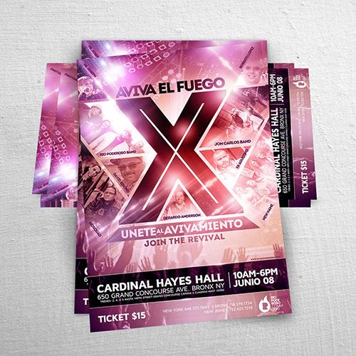 Catholic Christian Flyer / Poster Design Aviva el Fuego X | Joan Sanchez / Rio Poderoso