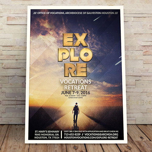 Poster Design: Explore Vocations Retreat | Office of Vocations, Archdiocese of Galveston-Houston