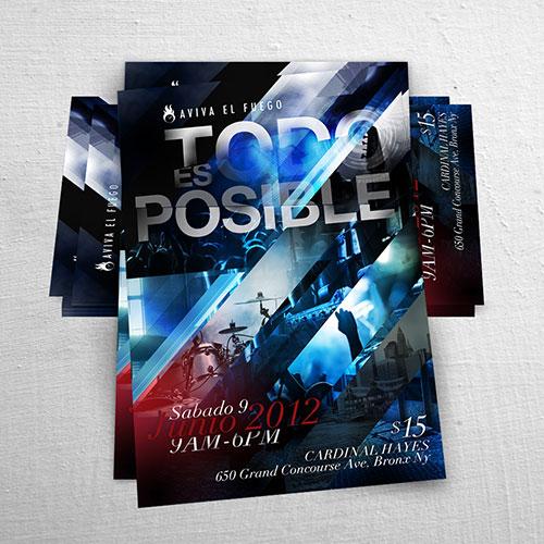 Diseño de Flyer / Afiche Cristiano Aviva el Fuego Todo es Posible   Joan Sanchez / Rio Poderoso