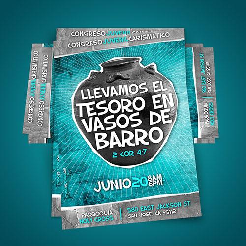 Diseño de Flyer / Afiche Catolico Congreso Juvenil Carismatico   RCC San Jose
