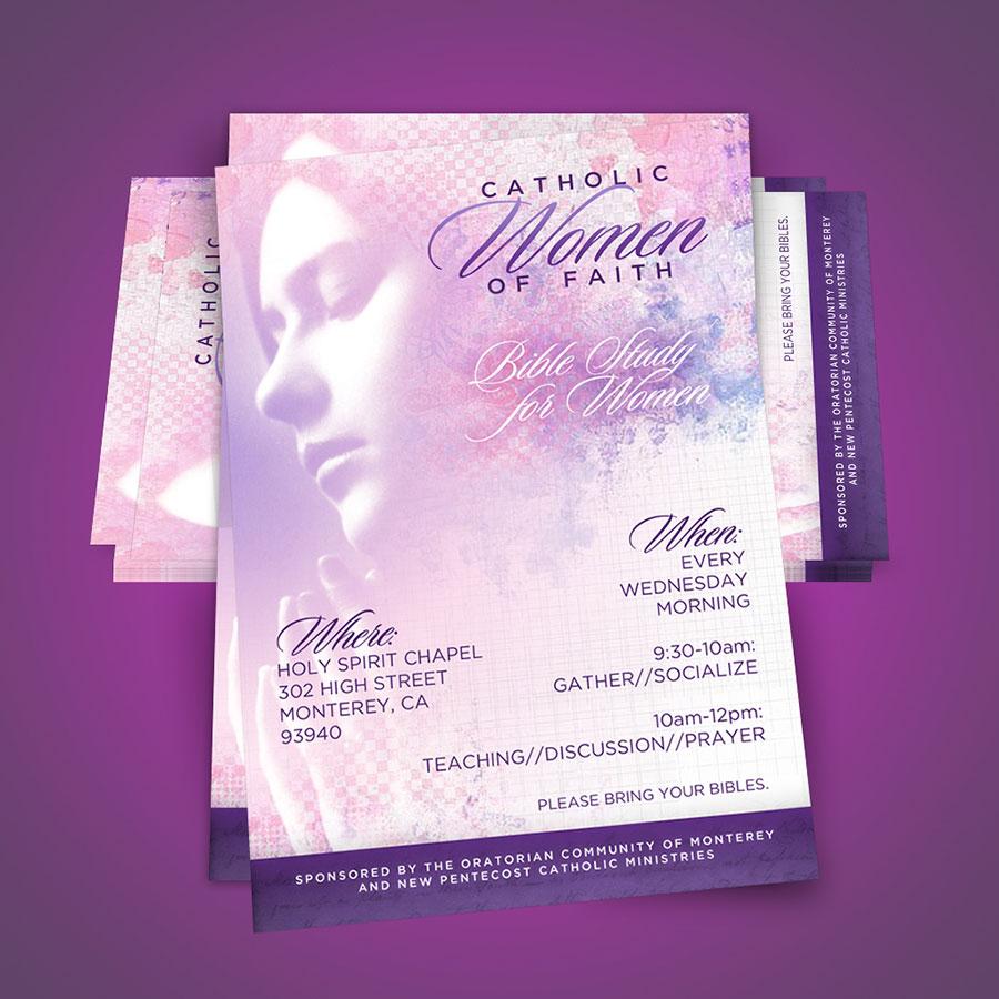 Diseño de Flyer / Afiche Cristiano Catholic Women of Faith   New Pentecost Catholic Ministry