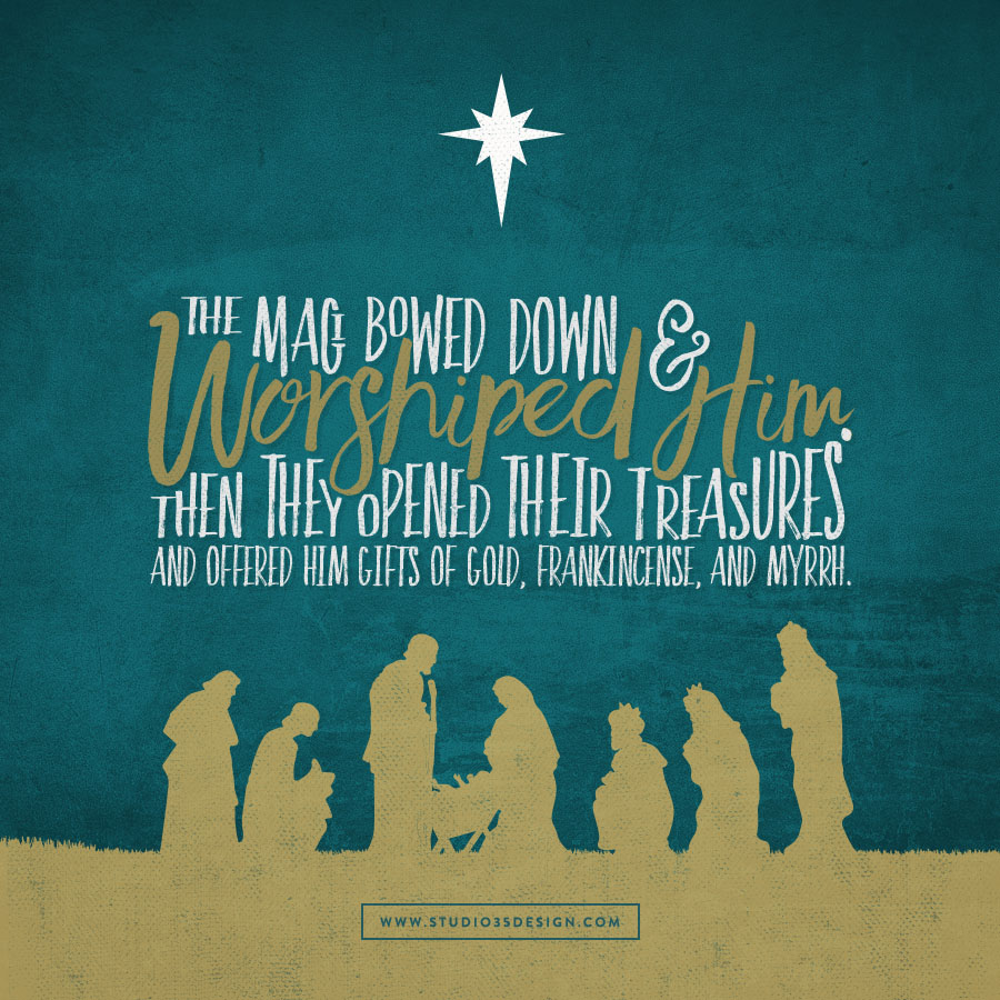 The Magi were overjoyed at seeing the star, and on entering the house they saw the child with Mary his mother.