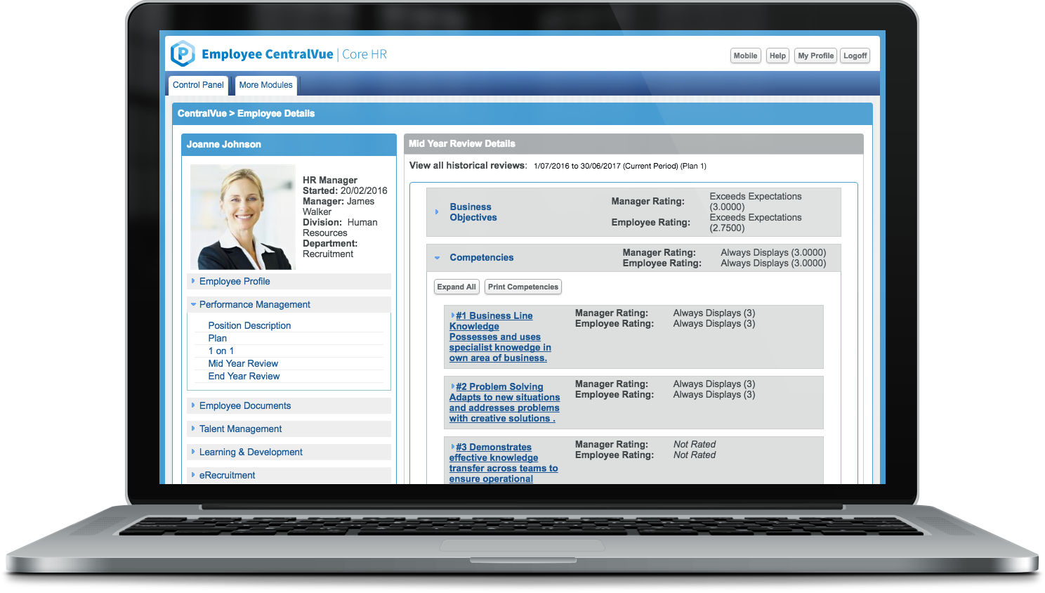 Employee CentralVue Core HR Software