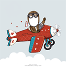 Example of what a personalized Valentine's Day e-card looks like with an illustration of a pilot in a plane against a light blue background