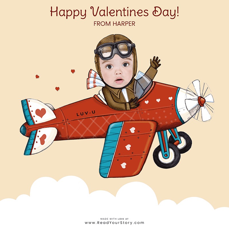 Thumbnail image of a personalized Valentine's Day e-card, featuring a child named Harper as a pilot flying a plane that says LUV-U on the side, all of which is against a light yellow background.  The card is illustrated except for Harper's face which is a cropped photo of the her face