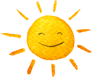 Watercolor illustration of gold sun with a smiley face