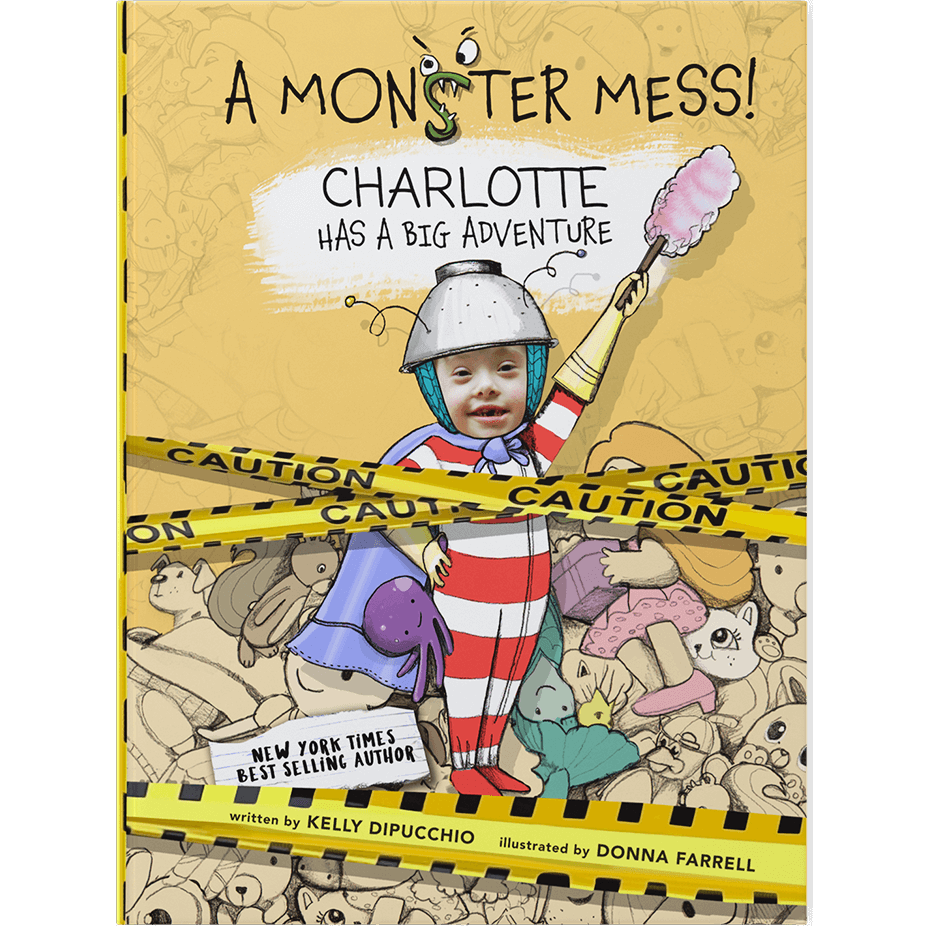 Personalized ABC book cover featuring child named Charlotte and her face inserted into an illustration of a child with red and white striped pajamas, holding a dustbuster and wearing a makeshift helmet and cape.  Yellow background with toys strewn about and yellow caution tape