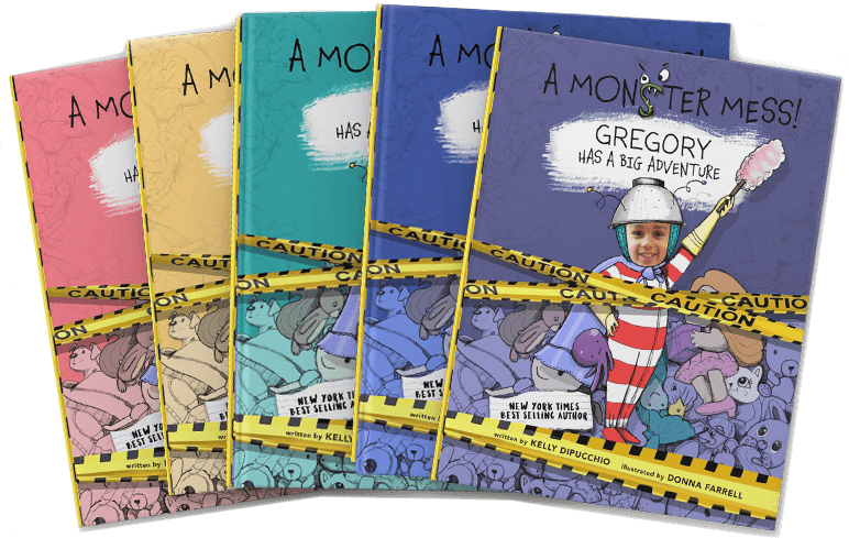 Five personalized book covers of A Monster Mess shown in yellow, pink and blue, with each cover featuring a different child's name and face.  Seal affixed to top right corner of image indicating 2017 National Parenting Product Award Winner