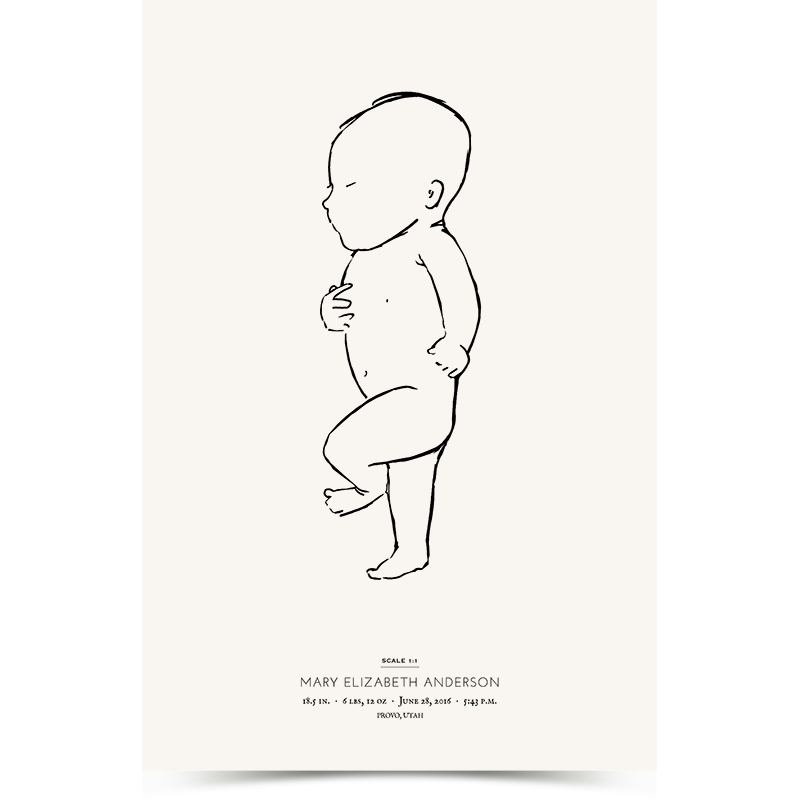 Newborn Poster showing illustration of a baby at a 1:1 scale with the baby's length at birth. Portrait orientation.