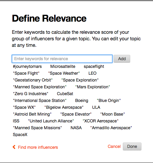 Space Exploration Keywords - Traackr