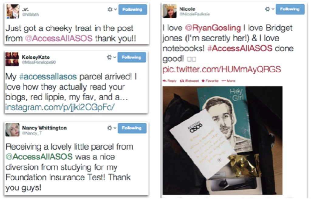 Tweets around #AccessAllASOS brand advocacy program