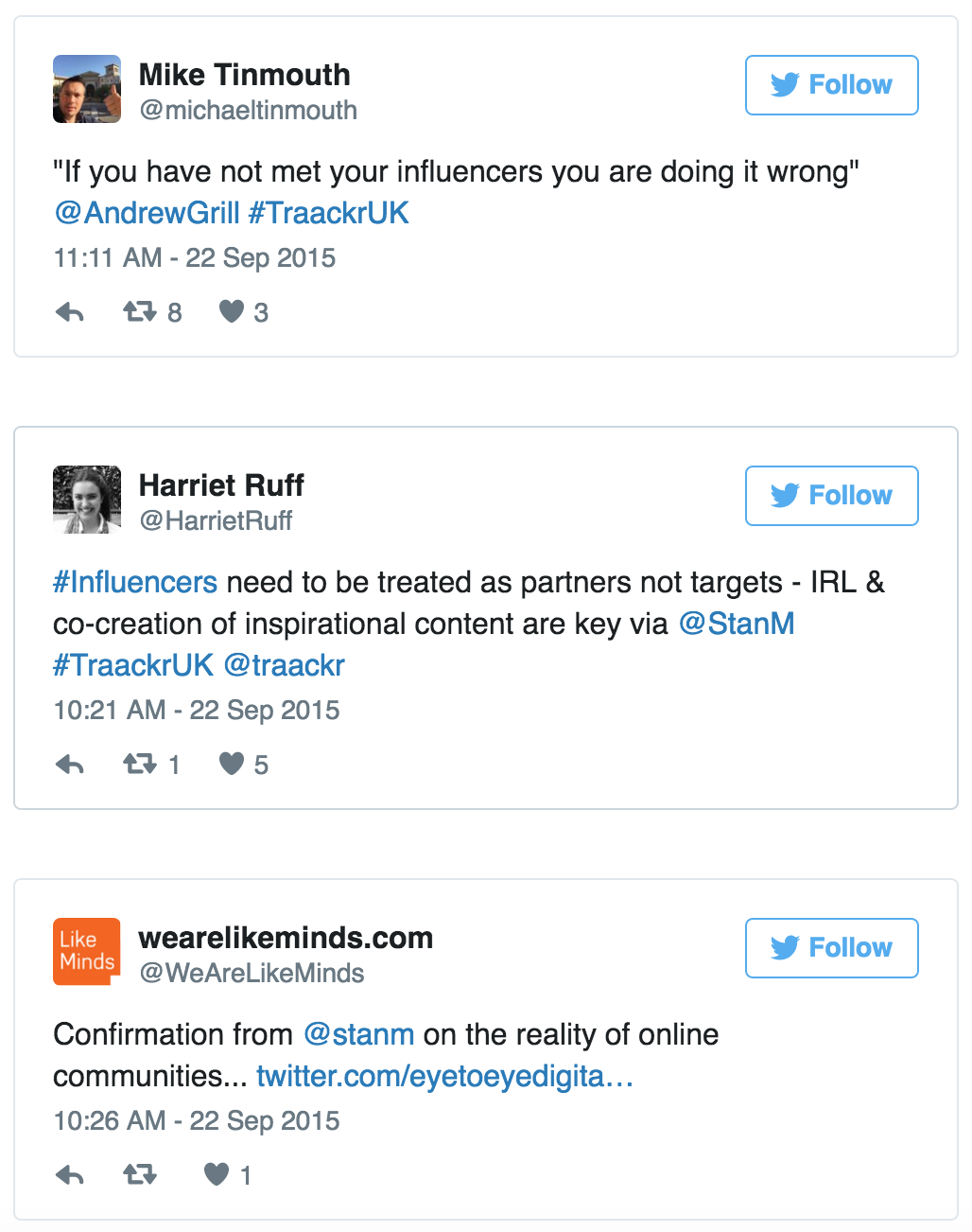 Tweets on managing influencer relations